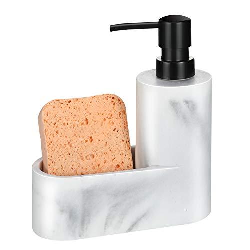 MoKo Dispenser per Sapone Mani Ricaricabile con Scomperto, Dispenser di Sapone Liquido in Resina e Sabbia, Dosatori per Sapone Liquido Moderno Piccolo per Bagno e Cucina - Bianco