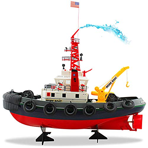"""POCO DIVO US Seaport Super Work Boat RC Tugboat 2.4Ghz Radio Control Tug Boat Tow Model 23"""" Harbor Fire Fighting Ship Rescue Spurt Water Fireboat"""