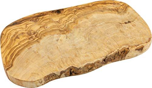 Schwertkrone Tabla para cortar hierbas de madera de olivo, corte natural, 35 cm, borde de árbol