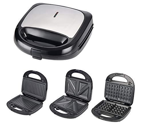 Sandwichmaker 3 in 1 (Sandwichtoaster, Kontaktgrill, Waffeleisen) Sandwich Maker hohe Leistung von 850 W, 3 Abnehmbare Platten, Antihaftbeschichtung, LED-Anzeigeleuchten und Cool Touch-Griff