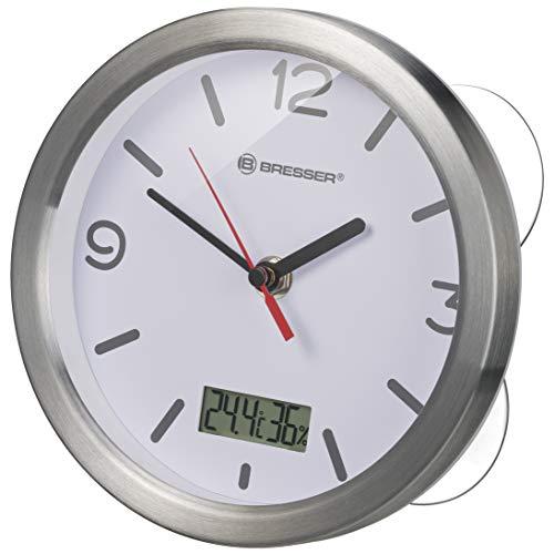 Bresser Wanduhr Mytime Thermo-/Hygro Funk Baduhr mit Thermometer und Hygrometer inklusive 4 Starker Saugnäpfe zum Aufhängen oder Aufstellen, Weiß