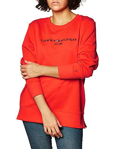 Tommy Hilfiger Hilfiger C-NK Sweatshirt Sudadera, Daring Scarlet, XXL Regular para Mujer