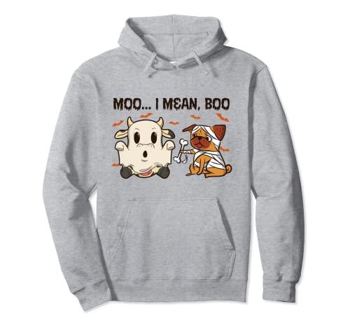 Moo I Mean Boo - Animales de granja para Halloween Sudadera con Capucha