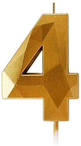ProYearn - Velas de cumpleaños (7 cm), color dorado