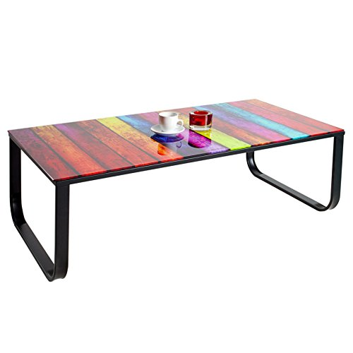 Stylischer Couchtisch RAINBOW 105 cm bunter Glastisch Tisch mit Glasplatte