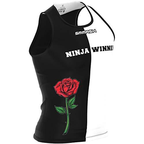 SMMASH Ninja Winner Deportiva Ultraligero Top Tank Hombre, Top de Compresión Camiseta Tirantes, Gimnasio, Formación, Crossfit, Material Antibacteriano, (XL)
