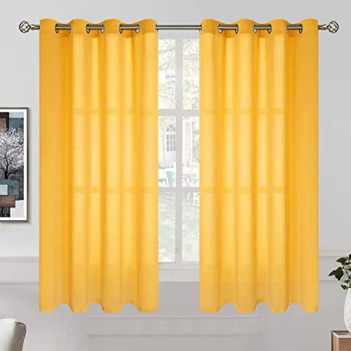 BGment Linen Look Sheer Curtains for Bedroom, Grommet Light Filtering Casual Textured Privacy Curtains for Living Room, 2 Panels (Each 52 x 45 Inch, Mustard Yellow)
