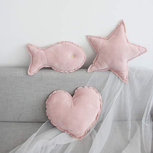 Cojín de almohada de corazón de estrella de felpa de 3 piezas, cojines de almohada para bebé, regalo de cumpleaños, almohada de princesa dulce, cojines de tienda de campaña tipi