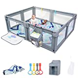 Sunix Baby Playpen with Play Mat, Extra Large Playpen for Babies and Toddlers, Sturdy Safety Baby Play Yard with Gate, Baby Fence Play Area Center with Breathable Mesh