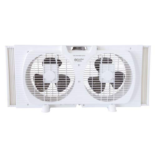 Comfort Zone CZ319WT 9-inch Twin Window Fan with Manual Reversible Airflow Control, Auto-Locking Expanders and 2-Speed Fan Switch