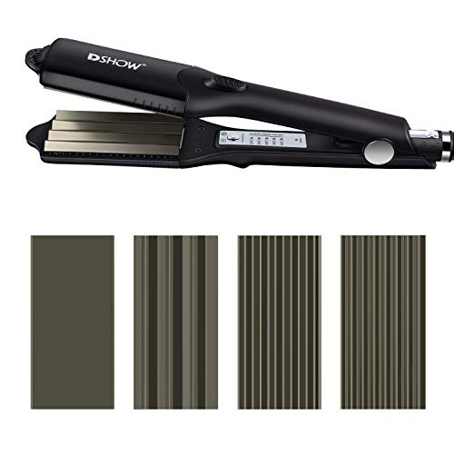 DSHOW 4 en 1 - Plancha de pelo con 4 placas intercambiables de cerámica de titanio para engarzar el pelo (BLACK)