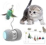 JIAMA Juguete Robótico Interactivo para Gatos, Rotación Automática Juguetes de Plumas/Bolas para Gatitos/Gatos, USB Recargable Juguete Electrónico del Gatito, Batería de Gran Capacidad