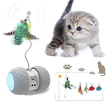 JIAMA Jouet Robotique Interactif pour Chat, Jouets de Plume/Boule Rotatifs Automatiques pour Chaton/Chats, Jouet électronique Rechargeable Kitty USB, Batterie de Grande Capacité, 4 Plumes Bonus