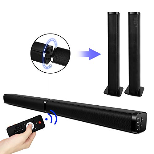 BKS-60 2 in 1 Sound Bar Speaker for TV with Home Theater,37-Inch Wired Bluetooth Stereo TV soundbar,Surround Sound System Home Speaker for TV Connect to Optical/AUX/USB/TF Card.