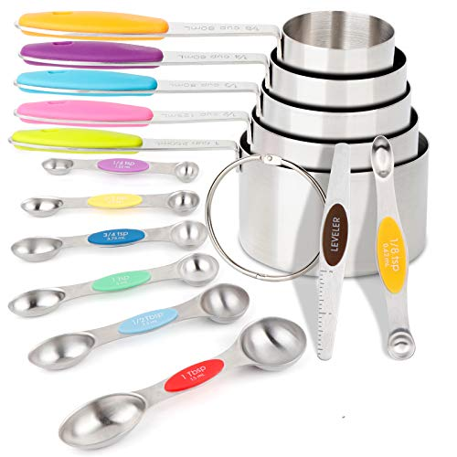 OurWarm 13pcs Measuring Cups and Magnetic Measuring Spoons Set Stainless Steel Dry Measuring Cups 5 Measuring Cup Set 7 Double-Sided Stackable Magnetic Measuring Spoons set 1 Leveler for Kitchen