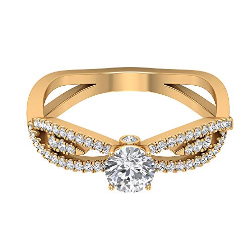 Anillo de mango dividido de moissanita certificado de 0,80 ct, único para mujer, anillo de fiesta, DE-VS1 claridad de color, anillo de clúster de piedras preciosas, declaración de boda, 14K Or