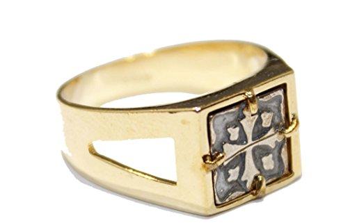 Diamantados of Fla Anillo Chapado en Oro de 18 Quilates, diseño de Cruz Pesada, Dos Tonos, tamaño 8