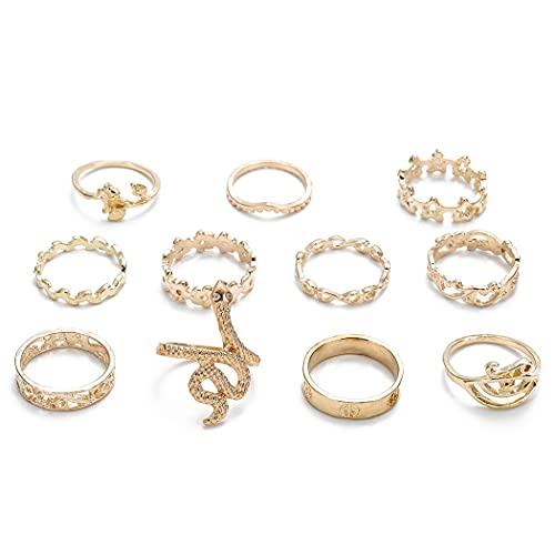Belasa - Set di 11 anelli vintage a forma di serpente dorati, con anello a forma di stella, per donne e ragazze, stile vintage, confezione da 11