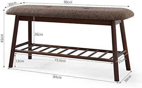 B-fengliu Cambio de banco de zapatos zapatero zapato heces almacenamiento de las heces El uso de un banco de zapatos de lino del amortiguador de bambú Entrada casera ( Color : A , Size : 90*30*45CM )