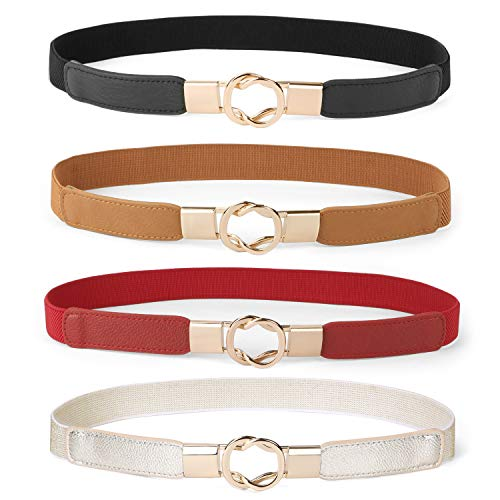 Women Skinny Belt for Dresses Retro Stretch Ladies Waist Belt Plus Size Set of 4 (Fits Waist 33-42 Inches,Black+Brown+Red+Gold)
