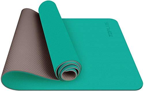 TOPLUS - Alfombra de yoga para gimnasio, materiales TPE reciclables, ultra antideslizante y duradera, 183 x 61 x 0,6 cm, no tóxica, alfombra de suelo para deporte y fitness, verde claro