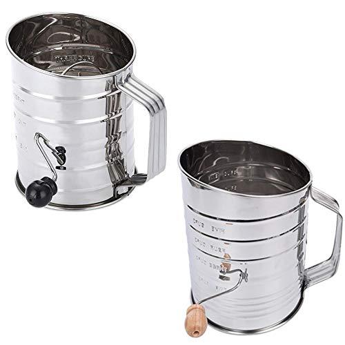 Sue-Supply Setaccio per Farina in Acciaio Inox Utensile da Cucina per Cottura a Mano a 3 Tazze Grande Mancanza di setaccio per Zucchero a manovella con frullatore o frullatore