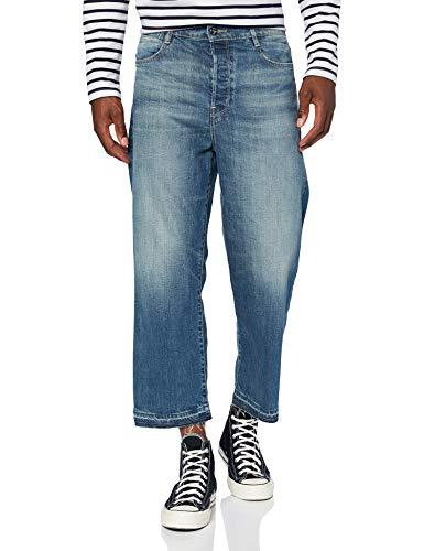G-STAR RAW Damen Straight Jeans Tedie Ultra High Waist Straight Ripped Ankle C, Blau (Faded Atlas B767-B137), 29W / 32L
