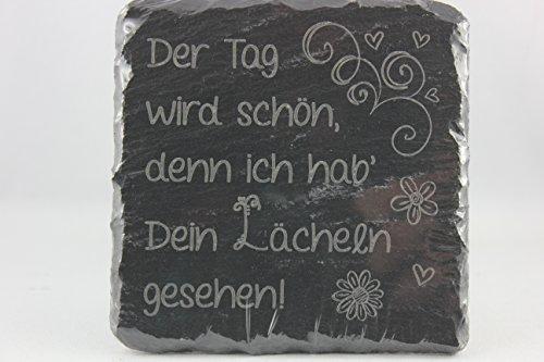Sheepworld, Gruss & Co - 44466 - Untersetzer, Der Tag wird schön, denn ich hab´ Dein Lächeln gesehen!, Schiefer, 9,5cm x 9,5cm
