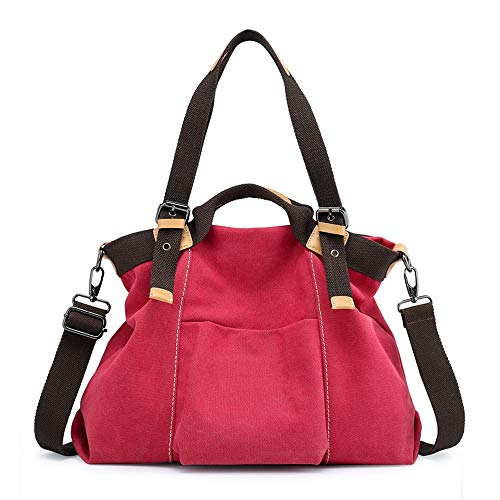 TRDyj Bolso de Mujer Lienzo Salvaje Bolso de Bandolera de Mujer Moda para Mujer Mochila (Color : Red)