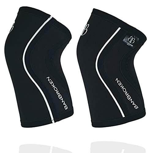 Rodilleras BANBROKEN (2 unds) - 5mm Knee Sleeves - Gimnasio, Deporte Funcional, CrossTrain, Levantamiento de Pesas, Running y Otros Deportes. 1 PAR - Unisex. (Negro, Medium)