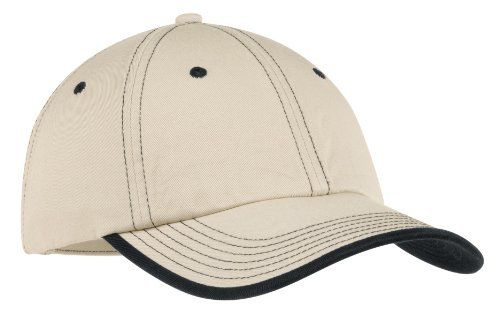 Port Authority® Vintage Washed Contrast Stitch Cap. C835 Stone/ Black OSFA