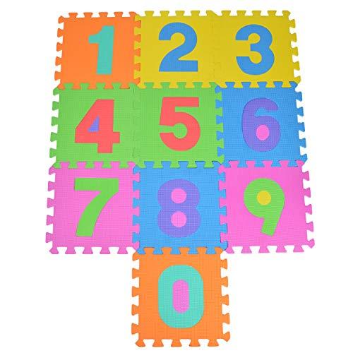 Puzzelmat 123 met 10 stukjes voor kinderen, antislip EVA - speelmat, aan elkaar te bevestigen 30 x 30 x 1 cm - kindertapijt, puzzel met cijfers inclusief tas
