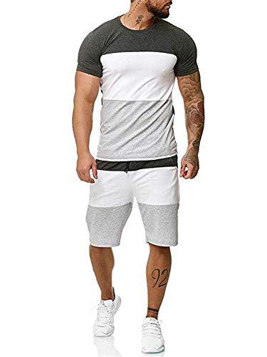 Geagodelia Tuta Uomo Sportiva 2 Pezzi T-Shirt + Pantaloncini Tuta Estiva Maniche Corte Girocollo Set Completo Casual Maglietta M-3XL Jogging Corso Palestra (Grigio, X-Large)