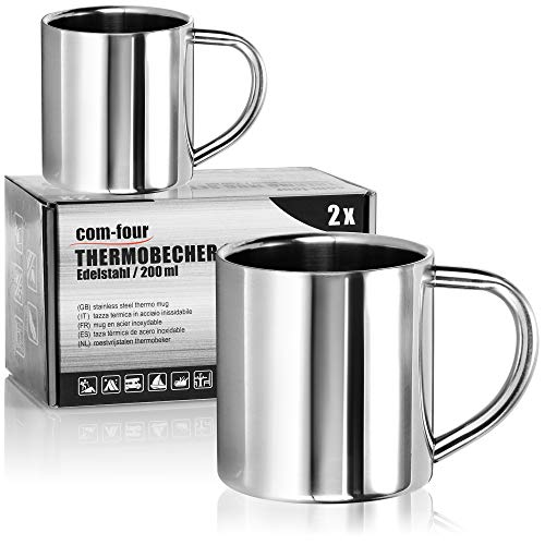 com-four® 2x Edelstahl Thermobecher - 200 ml je Becher - Isolierbecher doppelwandig - Kaffeetasse bruchsicher - Thermo-Trinkbecher - Camping Becher - Tasse - BPA-frei (200ml)