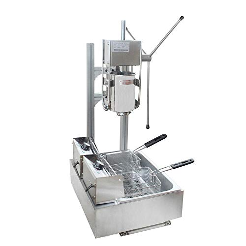 Multifunction Big Capacity Churro Maker Machine-Newest Commerical Mannual Churro Maker Support 5 Different Shapes-for Home, School,Restaurant(3L)