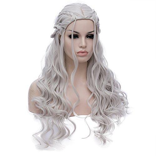 Game of Thrones Cosplay Perücke Damen Daenerys Targaryen Zöpfen Geflochten Lang Locken wellig Perücken gewellt Haar Wig DE014B