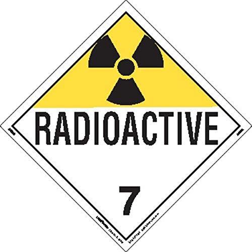 Labelmaster Z-EZ7R Radioactive Hazmat Placard, Worded, E-Z Removable Vinyl (Pack of 25)