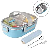 Arderlive Insulated Bento Box With portable utensils, 2-Compartment Leakproof Stainless Steel Lunch...