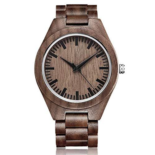 Reloj de Madera para Hombre, Mujer, Hombre de Madera Completo, Minimalista, Relojes de Pulsera de Cuarzo de bambú, Reloj Masculino, Regalo A