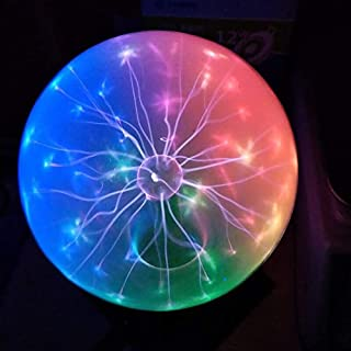 Pelddy Touch Sound Sensitive Glass Plasma Ball Lamp Crystal Three Color Globe Design (8 inches)