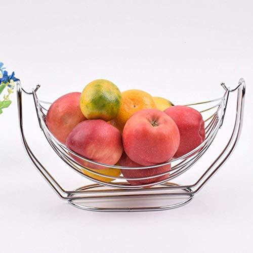 O&YQ Huishoudelijke Opbergschalen Verchroomde Schommel Fruithangmat, Zilver Roestvrijstalen Fruitschaal Met Grote Capaciteit, Eenvoudige Huishoudelijke Fruitmand Desktop Opbergmand