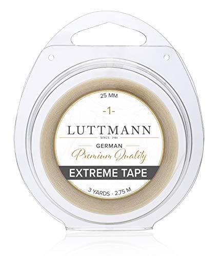 LUTTMANN® Extreme Tape - 25 mm Cinta adhesiva de sujeción extrema de calidad superior rollo adhesivo transparente para sistemas de cabello, postizos, pelucas, peluquines y extensiones