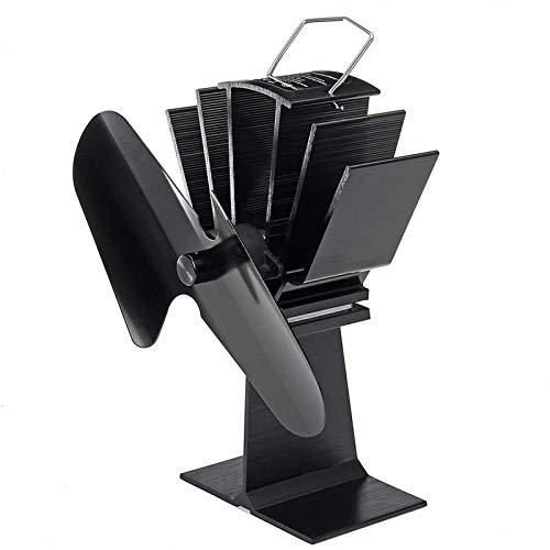 Kaminlüfter 2-Blatt-Holzofenventilator Mit Wärmebetrieb Lautloser Umweltfreundlicher Kaminventilator Für Holz/Holzofen/Kamin (Size:One Size; Color:Black)