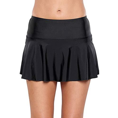 LiQinKeJi8 Moda Negro for Mujer de Cintura Alta Swim Hakama Plisada Falda rizada Playa de natación Nadar Hakama Mujer (Color : LC410780-Black, Size : M)