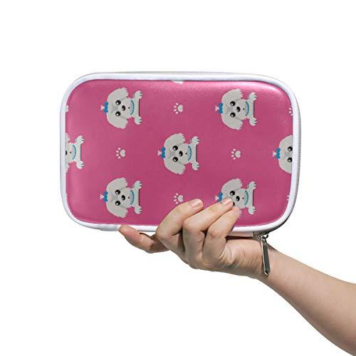 Étui à crayons pour filles Fluffy Small Puppy Maltese Cartoon Trousse de toilette pour femmes Petit sac à cosmétiques pour femmes Maquillage multifonctionnel Sac de voyage Petit pour hommes Femmes