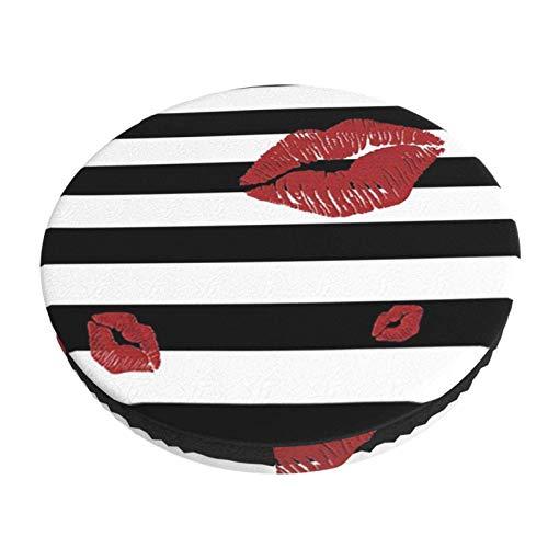 Labios Rojos Brillantes sobre Rayas Blancas y Negras, extraíble, Lavable, Redondo, para Bar, Silla, cojín, Funda elástica, Taburete, cojín, Funda, 13 Pulgadas