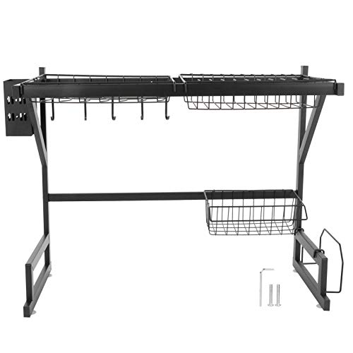 Kitchen Shelf Drainer Drying Non‑slip Suction Dish Drying Shelf Sink Shelf Stainless Steel Sink Rack Adjustable for Plates Bowls