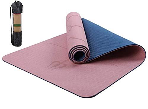 Haioo Esterilla de Yoga Antideslizante con Línea Corporal Colchoneta de Yoga para Yoga Pilates Gimnasia Tonificación Ejercicios de Fuerza Meditación