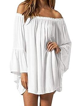 ZANZEA Women s Sexy Off Shoulder Chiffon Lace Ruffle Sleeve Blouse Mini Dress Summer Beach Cover Up Sundress White M