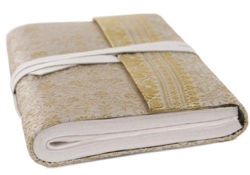 Life Arts Sari Stoff Notizbuch (Weiß, A5 Blanko)